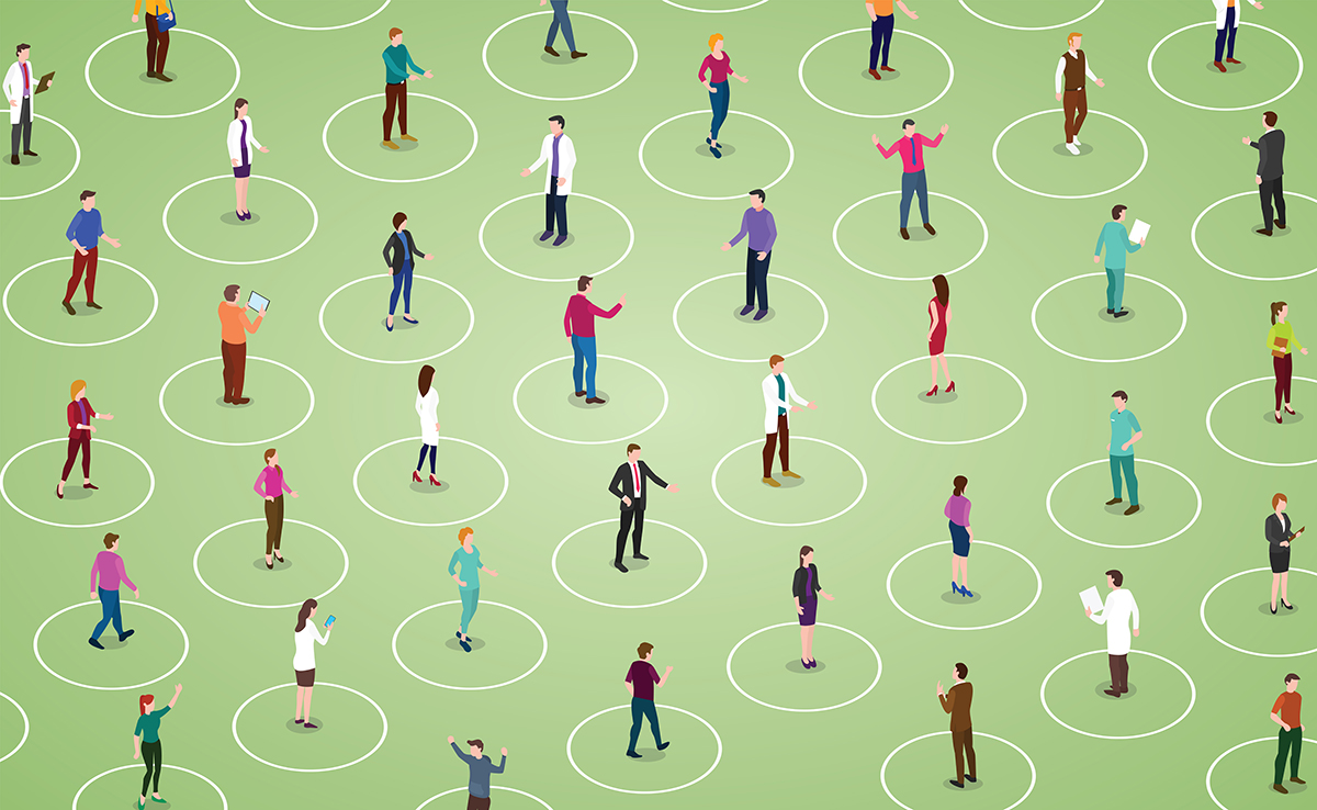 Social Distancing graphic - Shutterstock