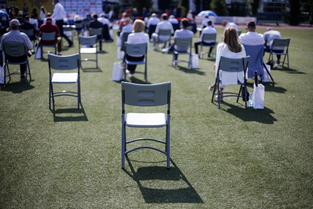 Socially distanced outdoor gathering - Shutterstock